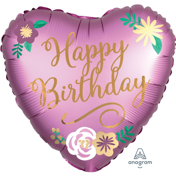 Happy Birthday Satin Flowers Standard Foil Balloon